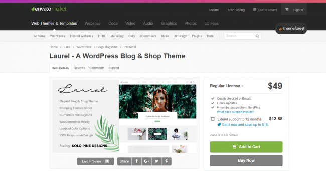 Laurel wordpress theme to start a travel blog