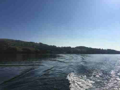 View of Lake Windermere from boat