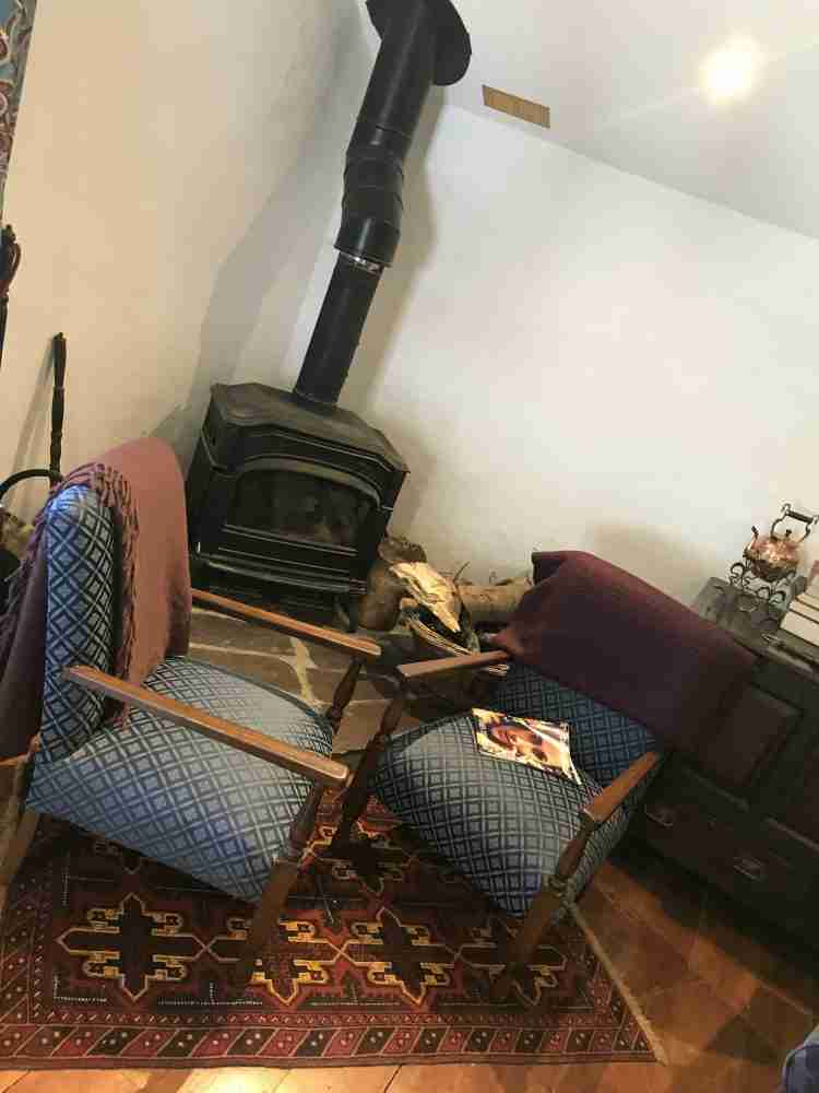 fire place at the couch house airbnb wales